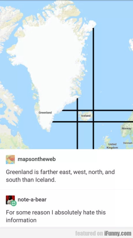 Greenland Is Farther East, West And North...