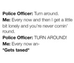 Police Officer: Turn Around. Me: Every Now And...