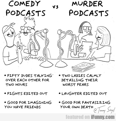 Comedy Podcasts Vs. Murder Podcasts