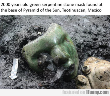 2000 Years Old Green Serpentine Stone Mask...