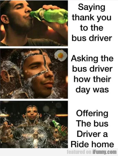 Saying Thank You To The Bus Driver. Asking The...