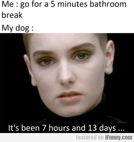 Me - Go For A 5 Minutes Bathroom Break - My Dog...