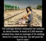 The Average Woman Overpacks Her Suitcase By...