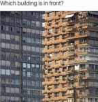 Which Building Is In Front?