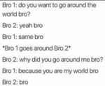 Bro 1 - Do You Want To Go Around The World Bro...