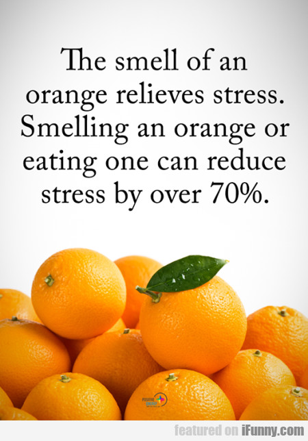 The Smell Of An Orange Relieves Stress. Smelling..