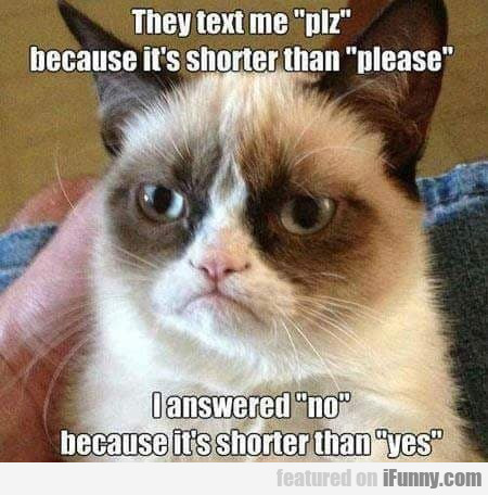 They text me plz because it's shorter than...