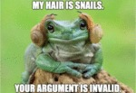My Hair Is Snails. Your Argument Is Invalid...