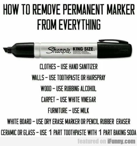 How to remove permanent marker from everything...