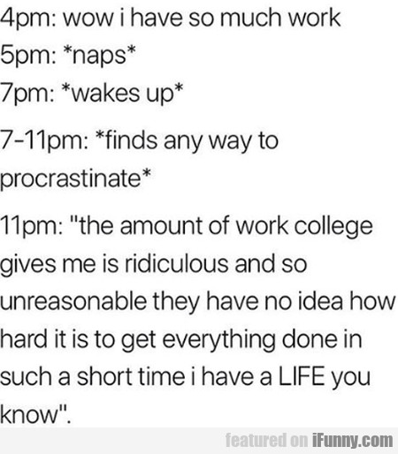 4pm - Wow I Have So Much Work - 5pm - Naps..