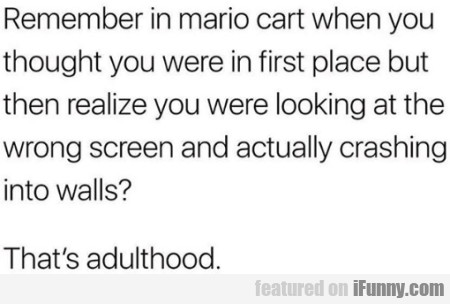 Emember In Mario Cart When You Thought You...