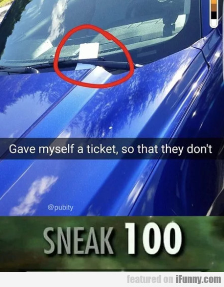 Gave Myself A Ticket, So That They Don't...