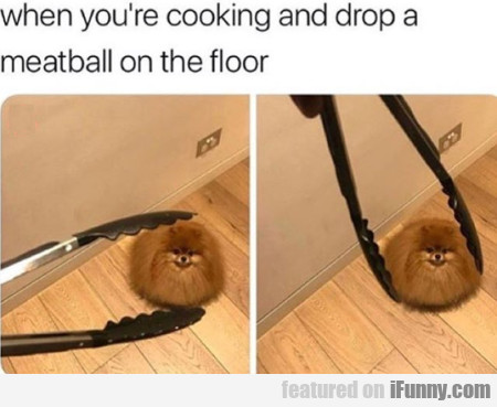 When You're Cooking And Drop A Meatball On...