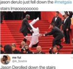 Jason Derulo Just Fell Down The Metgala Stairs...