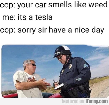 Cop - Your Car Smells Like Weed - Me - Its A Tesla
