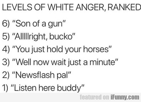 Levels Of White Anger Ranked - Son Of A Gun..