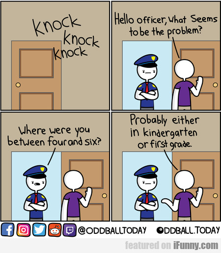 knock knock knock hello officer, what seems to be