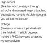 High School - Teacher Who Barely Got Through...