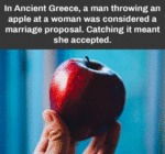 In Ancient Greece, A Man Throwing An Apple At...