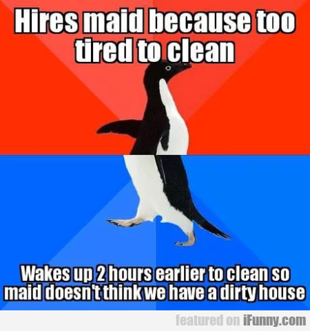 Hires maid because too tired to clean...