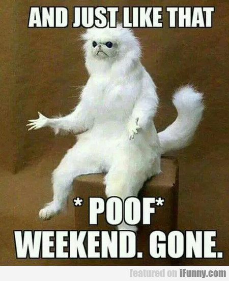 And Just Like That - Poof. Weekend Gone
