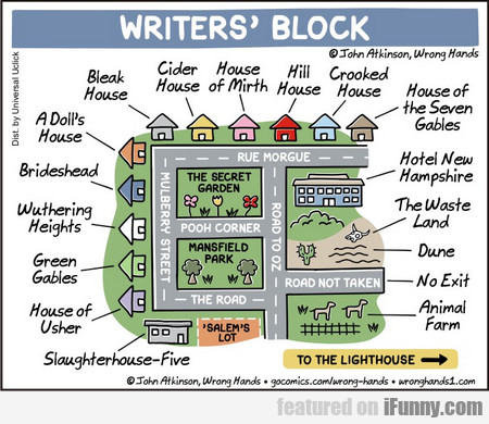 Wrighters' Block. Bleak House. Cider House. House