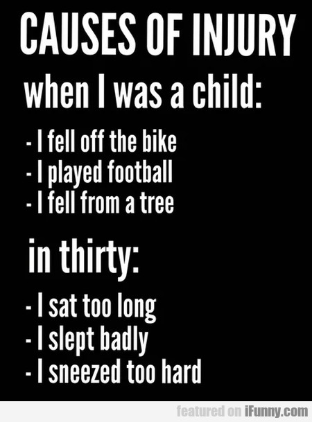 Causes Of Injury When I Was A Child - I Fell Of..