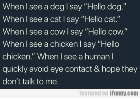 When I See A Dog I Say Hello Dog. When I See...