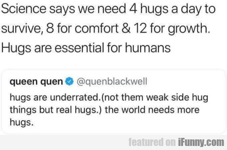 Science Says We Need 4 Hugs A Day To...