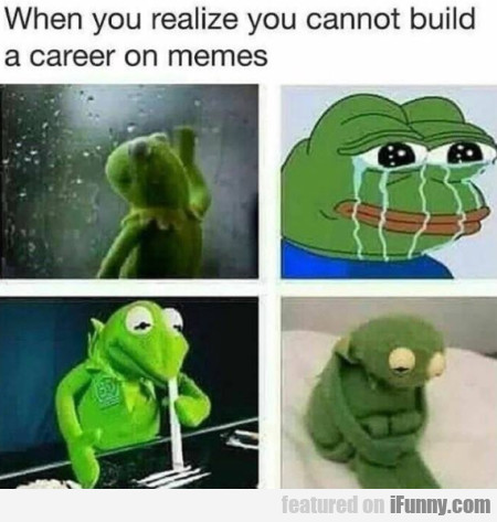 When You Realize You Cannot Build A Career On...