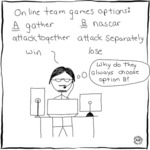 Online Team Games Options: A) Gather; B) Nascar;