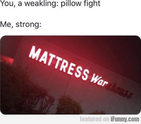 You, A Weakling - Pillow Fight - Me, Strong...