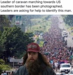 Leader Of Caravan Marching Towards Us Southern...