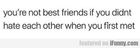 You're Not Best Friends If You Didn't Hate Each...