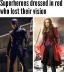 Superheroes Dressed In Red Who Lost Their Vision