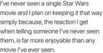 I've Never Seen A Single Star Wars Movie And I...