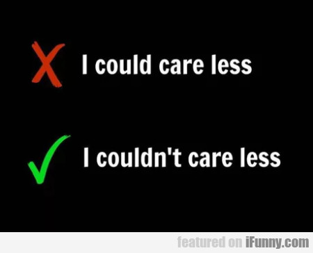 I Could Care Less - I Couldn't Care Less