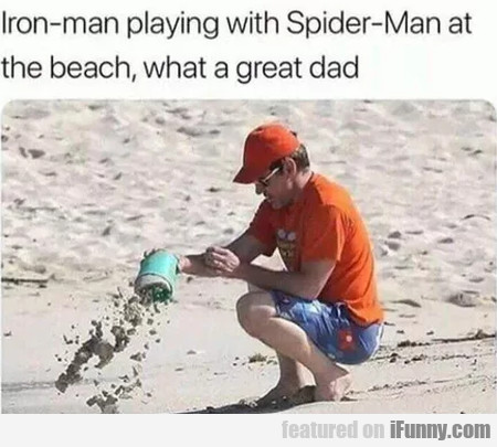 Iron-man playing with Spider-Man at the beach