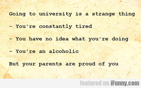 Going To University Is A Strange Thing - You're...