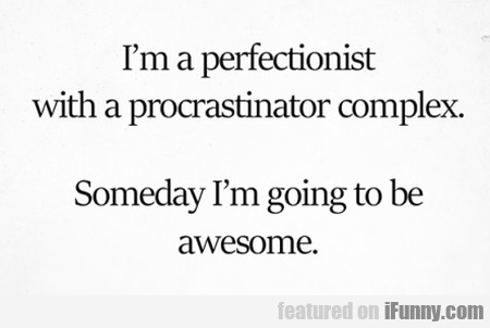 I'm A Perfectionist With A Procrastinator...
