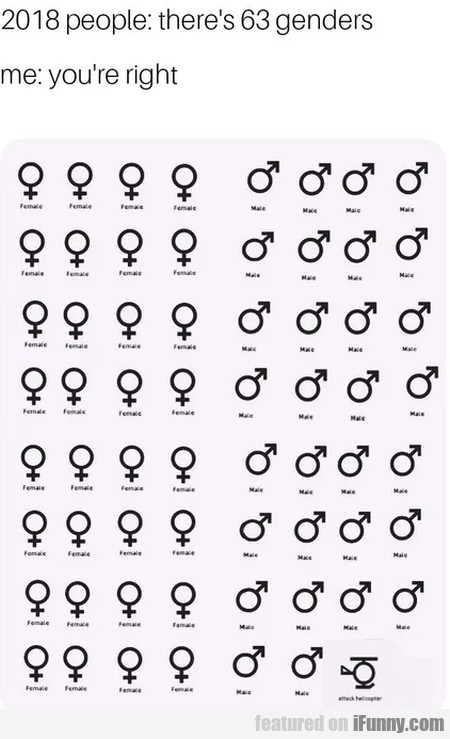 2018 people - There's 63 genders - Me - You're...