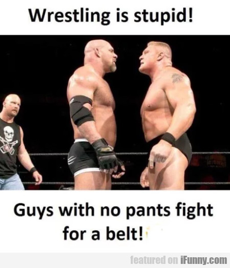 Wrestling is stupid - Guys with no pants...