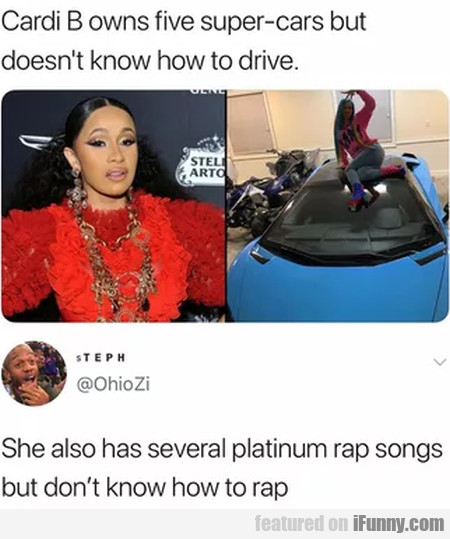 Cardi B owns five super-cars but doesn't know...