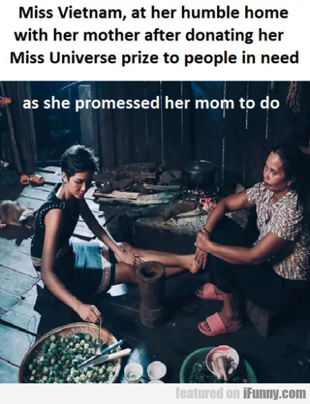 Miss Vietnam, At Her Humble Home With Her...