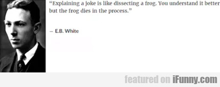 Explaining a joke is like dissecting a frog