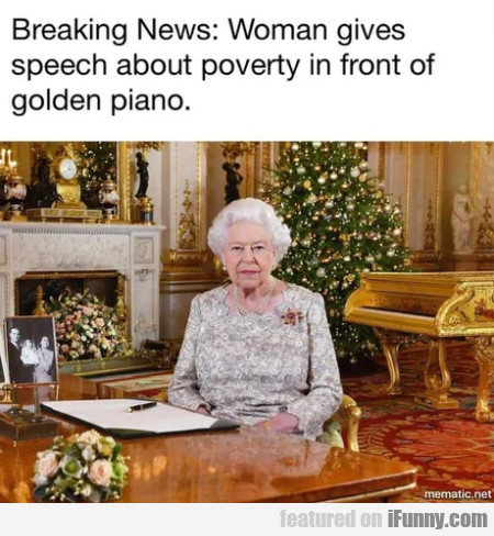 Breaking news - Woman gives speech about poverty..