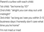 Parent's Curfew With Each Child - 1st Child