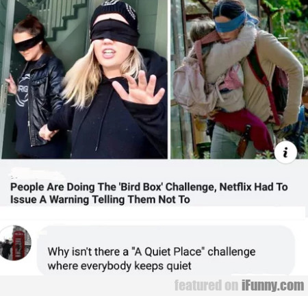People are doing the bird box challenge, netflix..