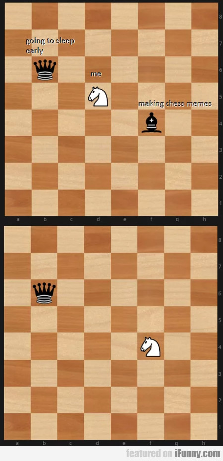 Going to sleep early - Me - Making chess memes...