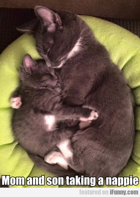 Mom and son taking a nappie